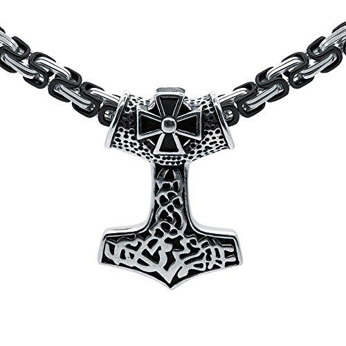 Soul-Cats® Thorshammer Anhänger Königskette Edelstahl Mjölnir Mjöllnir Thors Hammer Thor, Farbe:schwarz & Silber;Länge:50 cm