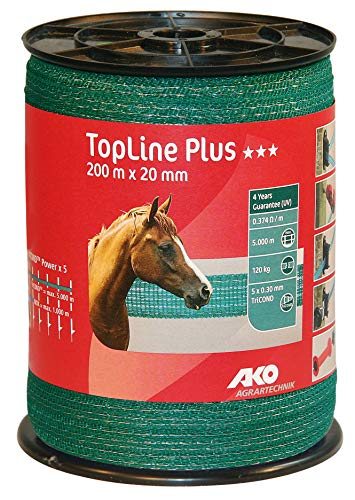 AKO Top Line Plus Weidezaunband/Elektrozaun Band, 20mm, grün - 200m - Widerstand: 0,37 Ohm, sehr leitfähig, auch für Lange Zäune - Pferdeweiden und Gartenschutz