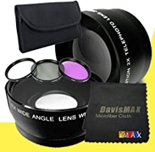 77mm Wide Angle + 2x Telephoto Lenses + 3 Piece Filter Kit for Sony Alpha SLT-A37 with Sony 24-70 f/2.8 Carl Zeiss Lens + DavisMAX Fibercloth Lens Bundle