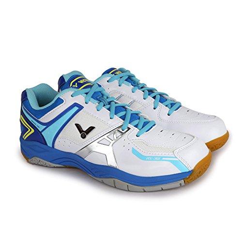 Victor AS-3W Badminton Shoe (White/Light Blue) (UK 4.5)
