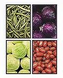 Conjunto de 4 láminas decorativas para enmarcar. Cuadros para decorar cocina y comedor. Verduras y mercado. Fotos impresas en papel resistente. Sin Marco.
