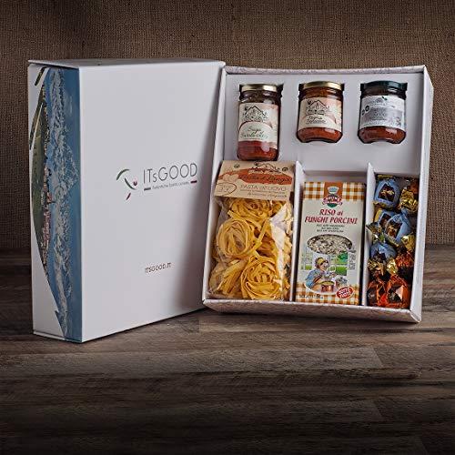 ITsGOOD Confezione Regalo Assaggi Del Piemonte; Cesto Regalo Con Tagliatelle E N. 3 Sughi Del Piemonte