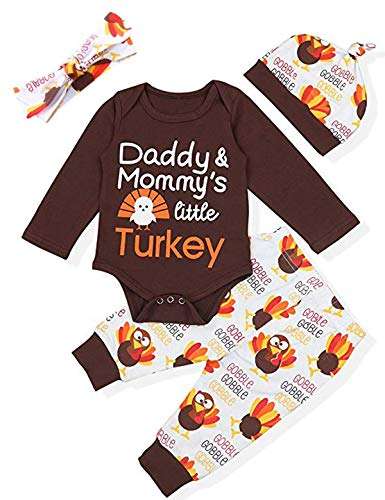 Thanksgiving Day Outfit Set Baby Boys Girls Little Turkey Romper(Brown, 6-12 Months)