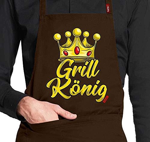HARIZ - Grembiule da Cucina con Scritta Grill König Grillen Männer Plus, in Confezione Regalo, Marrone, Taglia Unica