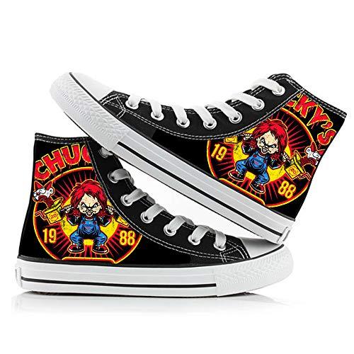 BSHDUFN Good Guys Chucky Schuhe Unisex Hohe Schuhe Personalisieren Printed Schnürsystem Schuhe Schuhe Freizeit Sneakers Good Guys Chucky Sneakers (Color : A02, Size : EU40 US8.5)