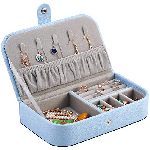 Watpot Jewelry Travel Case Organizer for Women - Portable Leather Jewellery and Accessories Box, Light Blue