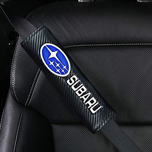 2 Piezas Almohadillas para cinturones de seguridad para automóviles emblema cuero de fibra de carbono hombreras Protectores de cuello para todos los vehículos SUV