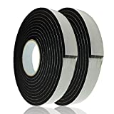 Adhesive Foam Tape Weather Strip for Doors Sticky Foam Strip Insulation Soundproofing Tape Single Sided Closed Cell Foam Tape 1/4 Inch Thick x 1 Inch Wide,2 Rolls