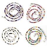 Zeaye - 4 piezas de cadenas para gafas con cuentas, soporte para correa para gafas, collar, correa para ojos, para hombres, mujeres, niñas, niños, ancianos (Elk panda morado color dorado)