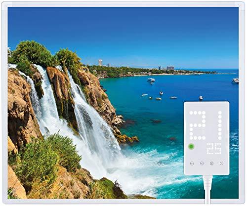 Heidenfeld Infrarotheizung HF-HP105 300 Watt Wasserfall Fotomotiv + Steckdosenthermostat HF-DT100-10 Jahre Garantie - Deutsche Qualitätsmarke - TÜV GS - Für 3-8 m² Räume (300 Watt, Wasserfall)