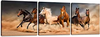 Inzlove Running Horse Animal Painting on Canvas Print Artwork for Home Decor 3 Pieces..