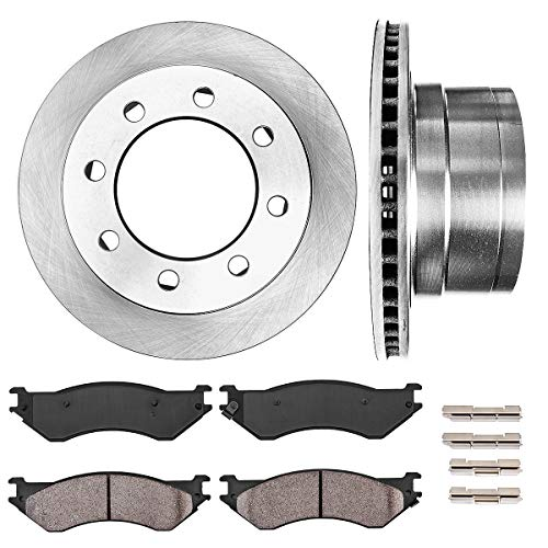 CRK14964 REAR 352.5 mm Premium OE 8 Lug [2] Brake Disc Rotors + [4] Ceramic Brake Pads + Clips