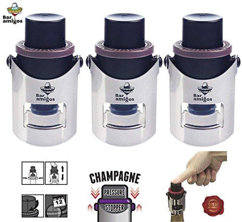 Bar Amigos® Triple Value Set of 3 Champagne Pressure Stopper Conjunto de 3 – De Cava Tapón de presión para botellas de champán y Espumosos Con la tecnología patentada Y Fecha Interruptor Recordatorio To Keep Your Bottle of Sparkling Wine Fresh – 3 años de Garantía de Satisfacción