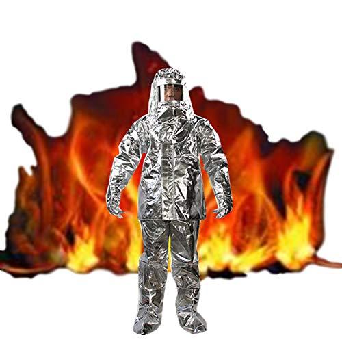 WYZDQ 500 Grad Hitzebeständiger Aluminisierter Anzug Feuerfester Verbundaluminiumfolie Feuerfester Stoff Pant Helmpaar Handschuhpaar Schuhüberzug,XL