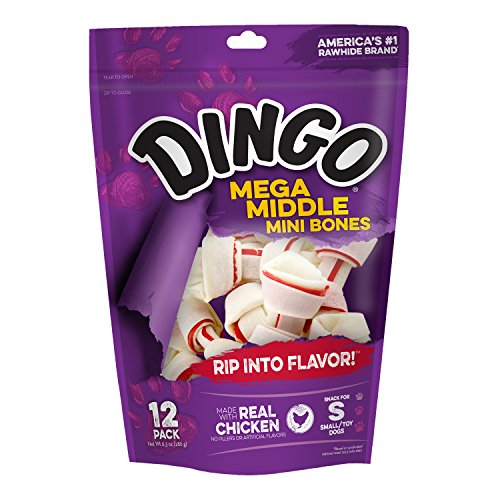 Dingo Mega Middle Mini Bones For Small/Toy Dogs, 12-Count