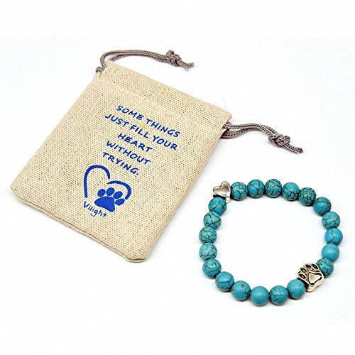 VILIGHT Pet Memorial Bracelet - Natural Turquoise Stone Dog Cat Memory Gifts Set - with Loss of Pet Card and Paw Print Package - Green