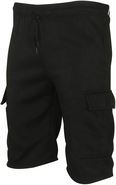 9 Crowns Men's Fleece Casual Cargo Shorts (Black, Large)