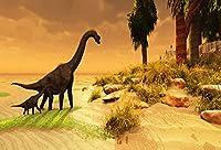 GooEoo 7×5フィートジュラ紀時代恐竜背景公園攻撃テーマ写真のための背景危険にさらされている動物森林川側ブラキオサウルス島背景スタジオの小道具