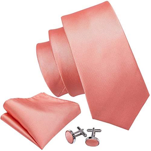 Krawatten Set Coral Pink Hochzeit Krawatte Pfirsich Solid 100% Seide Krawatten für Männer Hochzeitsfeier Business Neck Krawatten Set