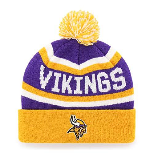 OTS NFL Minnesota Vikings Men's Jasper Cuff Knit Cap with Pom, Team Color, One Size