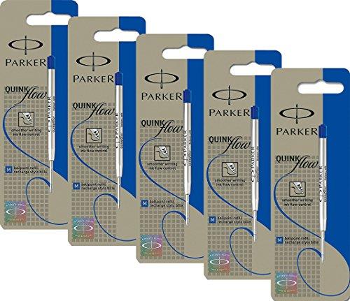 5x Parker S0909580 Ersatzmine QuinkFlow (für Kugelschreiber, mittlere Strichbreite, blaue Tinte, Einzelpackung)