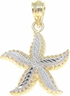 14K Solid Yellow Gold White Gold Diamond Cut Hawaiian sea Starfish Pendant 15mm