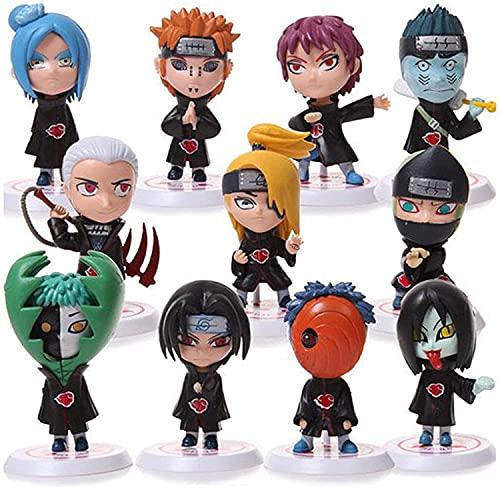 Figura de Anime Figuras de juguetes calientes, Figura de Naruto Juego de 11 piezas 8 cm Pvc personaje de dibujos animados de anime Escultura Juguete Colección de decoración de oficina en casa