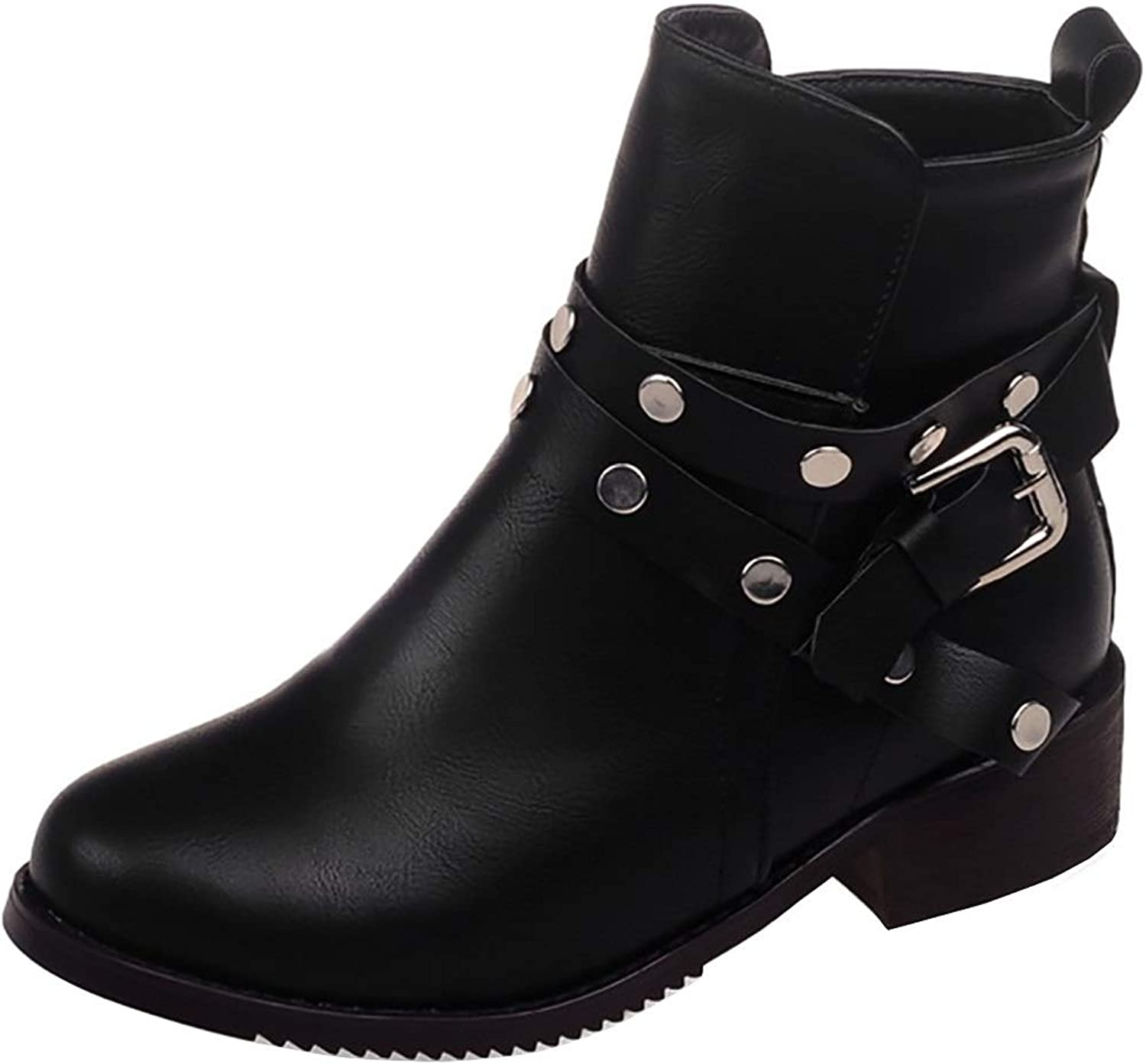 MAYPIE Women's Fashion High Top Round Toe Studded Buckle Block Heel Boots