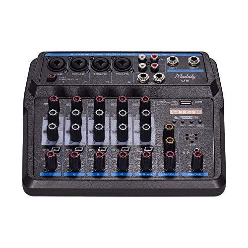 Muslady Mini Mezclador Musical U6 Mezcladores de Audio de 6 Canales Consola de Mezcla BT USB con Tarjeta de Sonido Potencia Fantasma de 48 V Incorporada