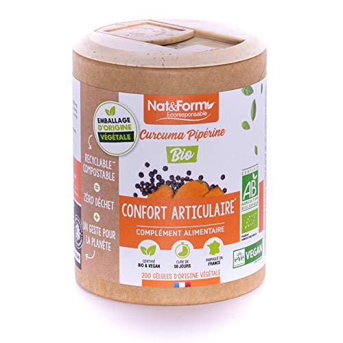 Nat & Form   Complément Alimentaire Curcuma Pipérine Bio AB   Soulagement, Confort Articulaire, Flexibilité   Made in France   Packaging Écologique   200 Gélules