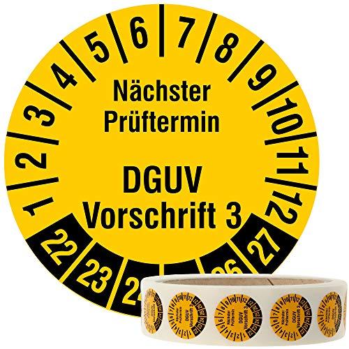 Labelident Mehrjahresprüfplakette 2022-2027 - Nächster Prüftermin DGUV Vorschrift 3 - Ø 20 mm, 1000 fälschungssichere Prüfplaketten auf Rolle, Dokumentenfolie, signalgelb, selbstklebend