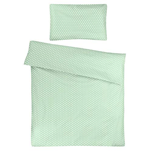 Sugarapple Kinder Bettwäsche 100x135 cm und Kissenbezug 40x60 cm, 2 tlg. Set, 100% Baumwolle Öko Tex Standard, Reißverschluss, Mint Sterne weiß