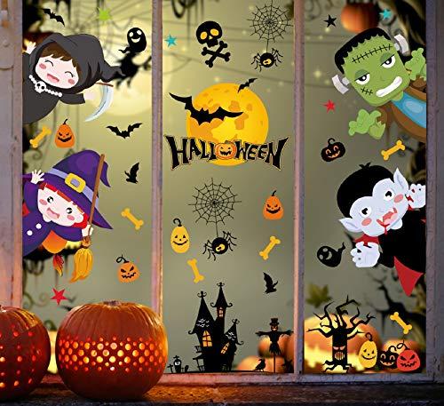Voqeen Halloween Aufkleber Fenster Sticker Hexe Burg Fledermaus Halloween Party Dekorationen Elektrostatische Realistisch Deko Fensterbilder Wandaufkleber Weihnachtsaufkleber (A)
