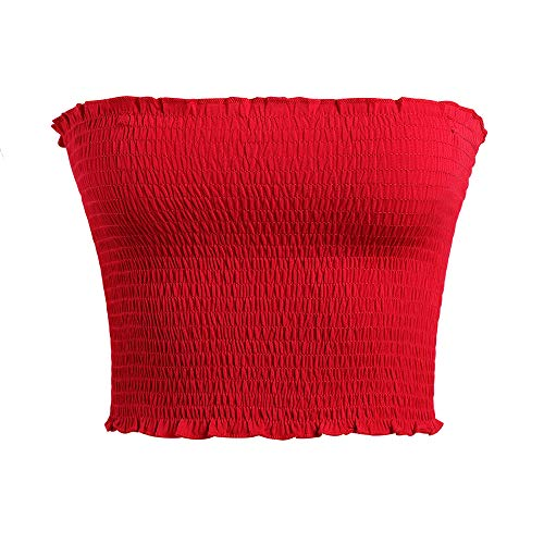 Women's Strapless Pleated Sexy Tube Crop Tops (L/XL,Red)