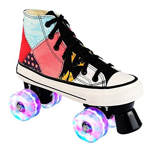 Kinder Erwachsene Inline Skates & Kinder Schlittschuh Roller Blades Mit Leucht PU Räder,36