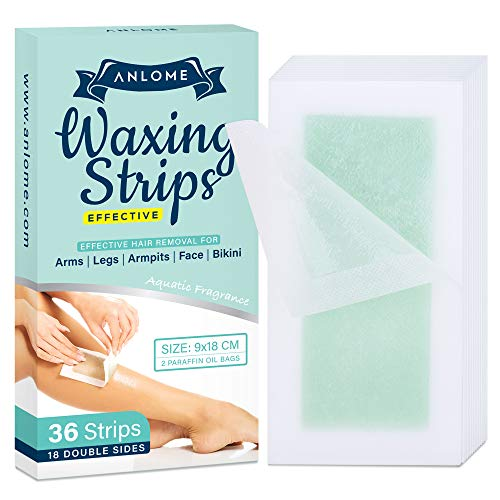 ANLOME Body Wax Strips for Face Legs Underarms Brazilian Bikini Women Wax Hair Removal with 36 Strips