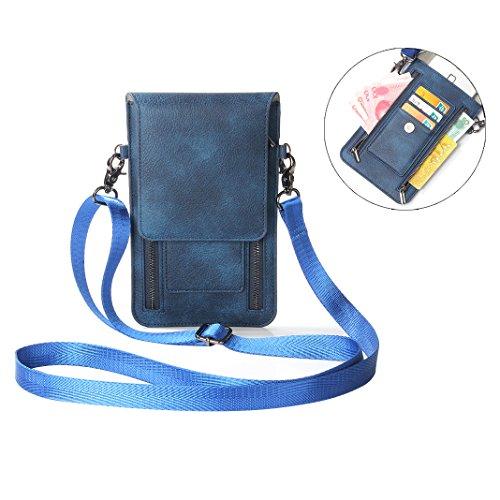 Moon mood Klein Umhängetasche, 6,3 Zoll Doppelter Reißverschluss Karte Cash Crossbody Messenger Tasche aus Leder Handy Paket für iPhone XS/XR/X/8 Plus, Galaxy S9/S9 Plus, Huawei P20 Lite/P20