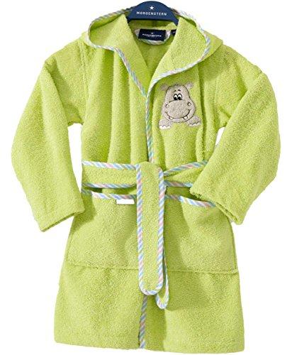 Morgenstern Kinderbademantel Grün mit Nilpferd und Kapuze Gr. 122 128