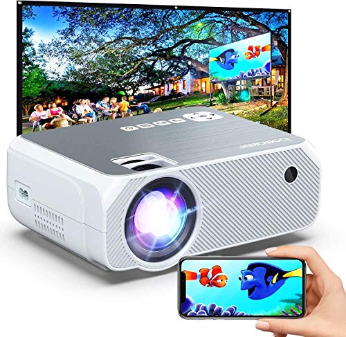 Bomaker Wi-Fi Mini Projector, Portable Outdoor Movie Projector, Full HD Projector for Outdoor Movies, Wireless Mirroring, Compatible with Phone, PC, TV Box, PS4, DVD Player, Windows- White