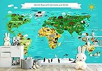 YCRY-壁紙3D動物の鳥の世界地図の壁 -壁の装飾-ポスター画像写真-HD印刷-現代の装飾-壁画-450x300cm