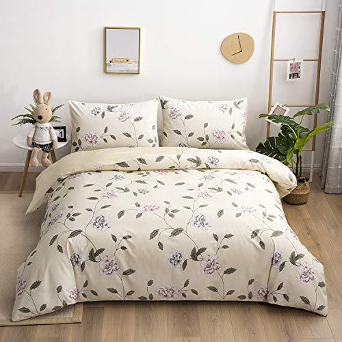 Softta Shabby Flower Farmhouse Bedding Design 800 Thread Count 100% Cotton 3Pcs Duvet Cover Set, Full Size, Flower 3