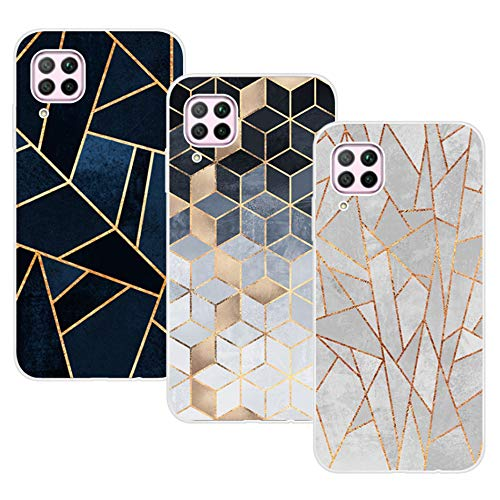 KZIOACSH Huawei P40 Lite/Huawei Nova 7i Case 3 Pack Ultra Thin Silicone TPU Soft Cover for Huawei P40 Lite/Huawei Nova 7i Plaid Set
