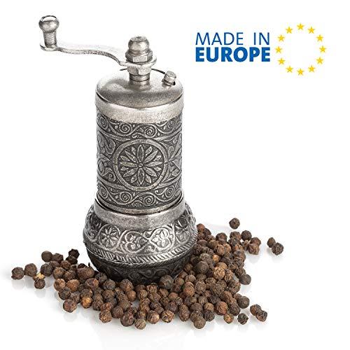 Black Pepper Grinder Refillable Turkish Spice Mill with Adjustable Grinder Manual Pepper Mill with Handle Spice Grinder Metal with Hand Crank Adjustable Coarseness Peppercorn Cracker Dark Silver