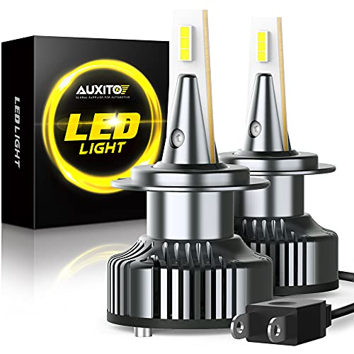 AUXITO H7 LED Bulbs, 80W 16000LM Super Bright, 6500K Cool White, LMP 7035 Chips, Canbus Ready, IP67 Waterproof, H7 Halogen Light Bulb Replacement Conversion Kit, 2 Pack