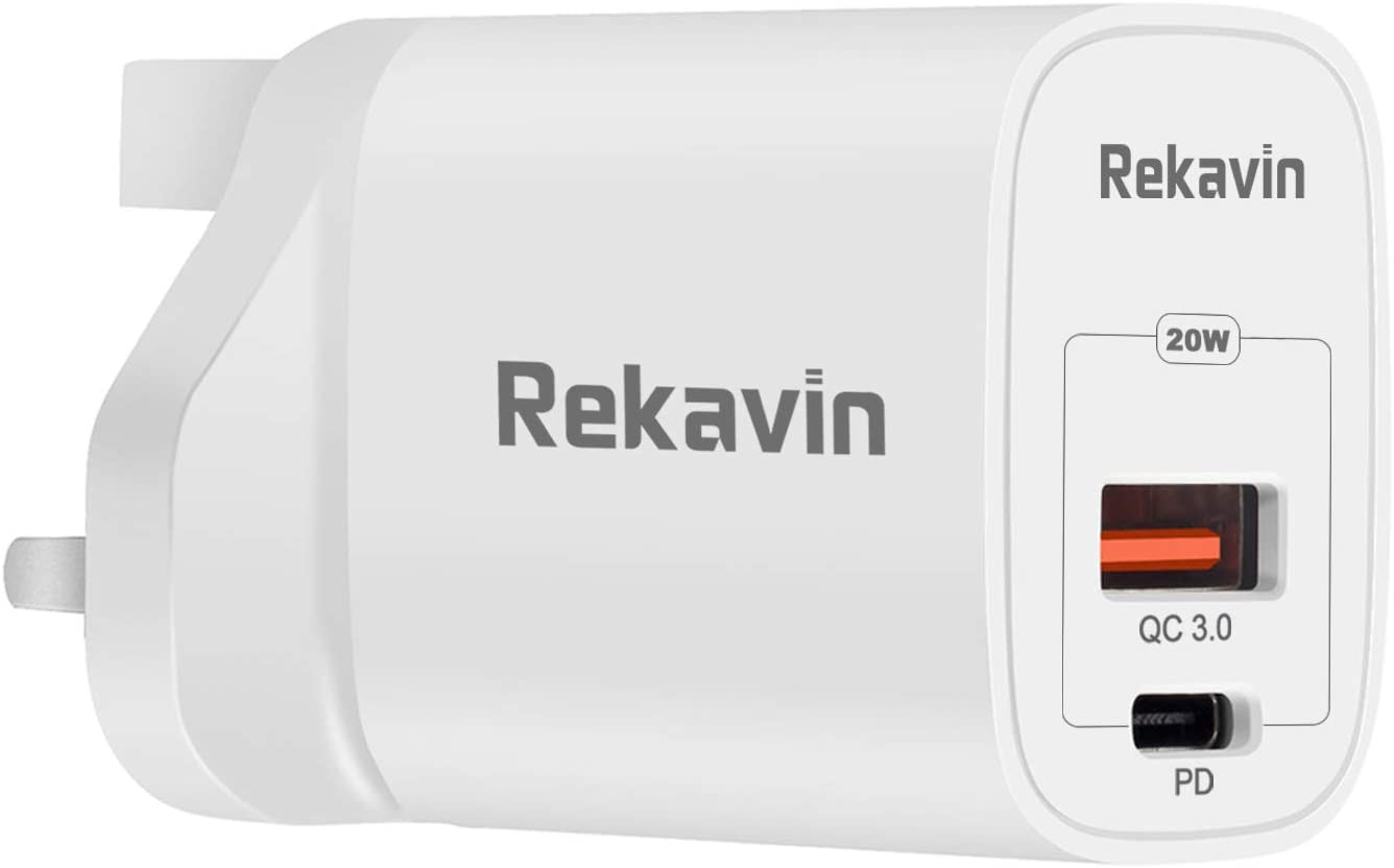 Rekavin 20W USB C Plug Fast Charge,Phone 12 Charger Plug USB-C Power Adapter UK Fast Charging for iPhone 12 Pro Max 11 X XR XS 8 SE 2020 iPad Samsung S20 A80 Huawei P40 P30,Dual Port USB A and Type C
