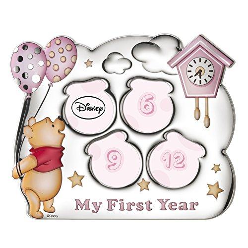 Disney Baby - Winnie l'ourson – Cadre photo en argent My First Year avec 4 trous pour contenir les photos de la première année du nouveau-né parfait comme idée cadeau
