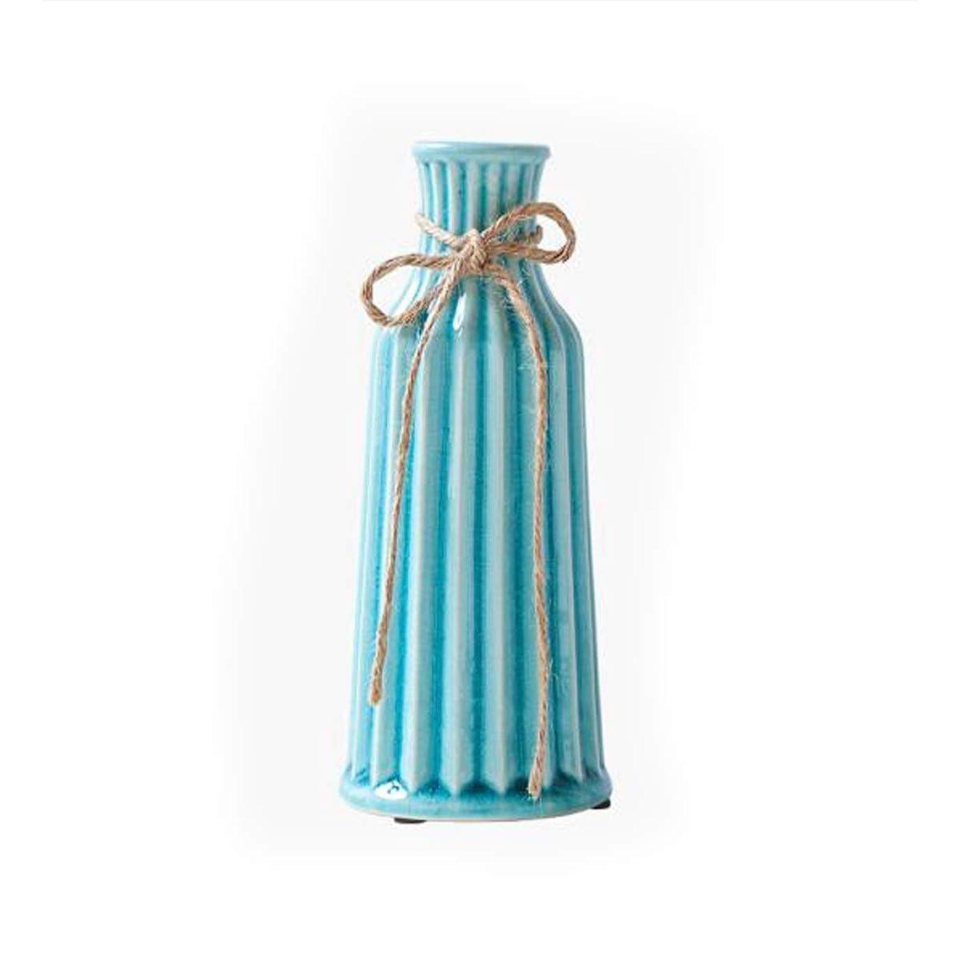 クラッシュ前兆鉄道駅CPWJD 花瓶、フラワーベース、セラミック装飾品、ホームアクセサリー (Color : Blue)