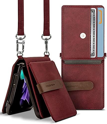 Goospery Wallet Hülle Kompatibel mit Galaxy Z Flip 3, Abnehmbarer Kartenhalter 2 Kartenfächer Aufbewahrung Premium-PU-Leder Verstellbarer Umhängeriemen Angebrachter Kopfhörer-Kabel-Organizer (Burg&y)