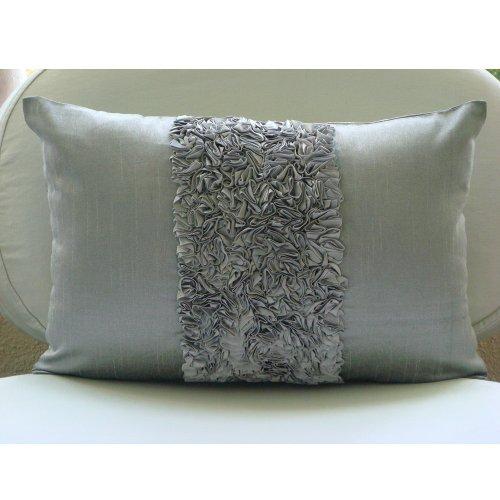 Vintage Silver Love - Decorativa Funda de Cojin 30 x 40 cm, Rectangle/Lumbar Plata Seda Satén Bordado de La Cinta