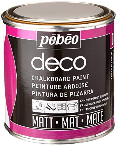 Pébéo – Deco Ardoise 500 ML Tableau Noir – Peinture Pébéo Ardoise - Peinture Acrylique Tableau Noir Ardoise Murale - Peinture Ardoise Craie Pour Tableau Noir Multisurface - 500 ml - Noir